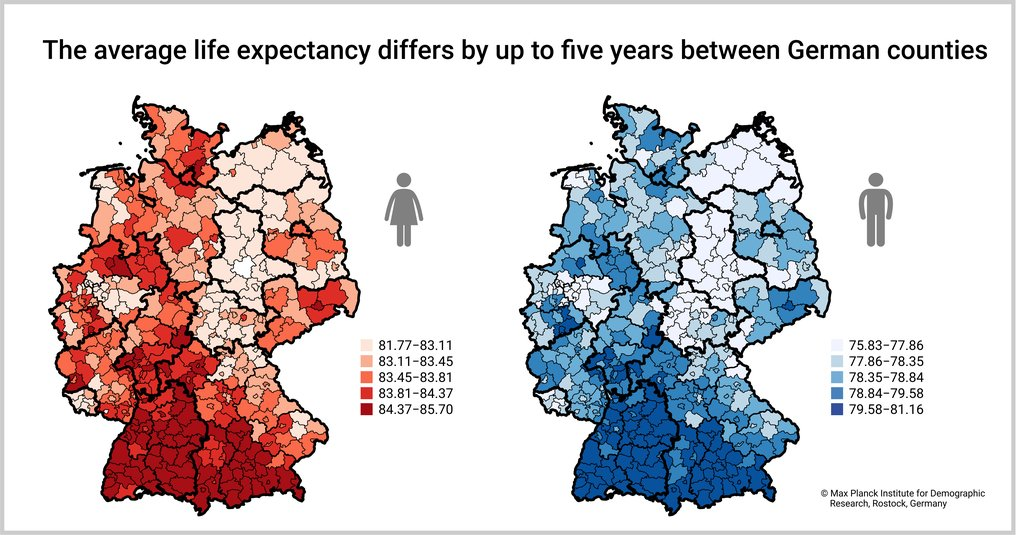 German Counties: People in the South Live Longer than those in the North